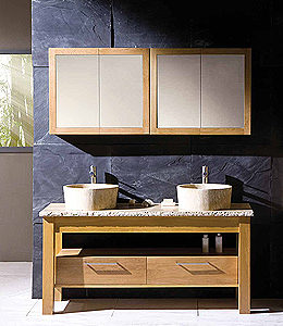 Extra large Prestige Plus washstand with twin Echo basins and 2 mirror cabinets