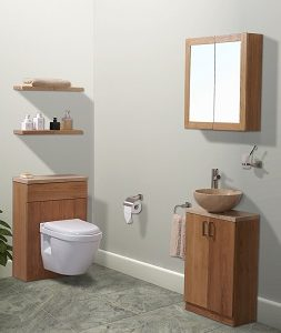 Petite washstand, back-to-wall wc unit, mirror cabinet and shelves in oak